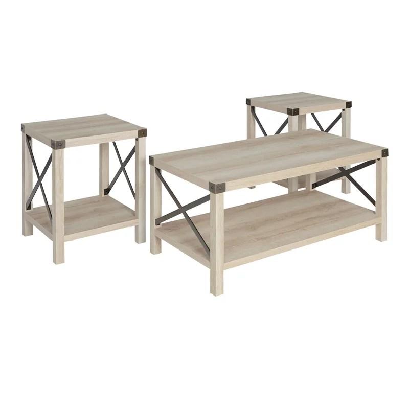 walker edison 3 piece rustic wood and metal coffee table set in white oak walmart com