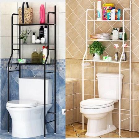 bathroom over toilet shelf,3-tier iron toilet towel storage rack
