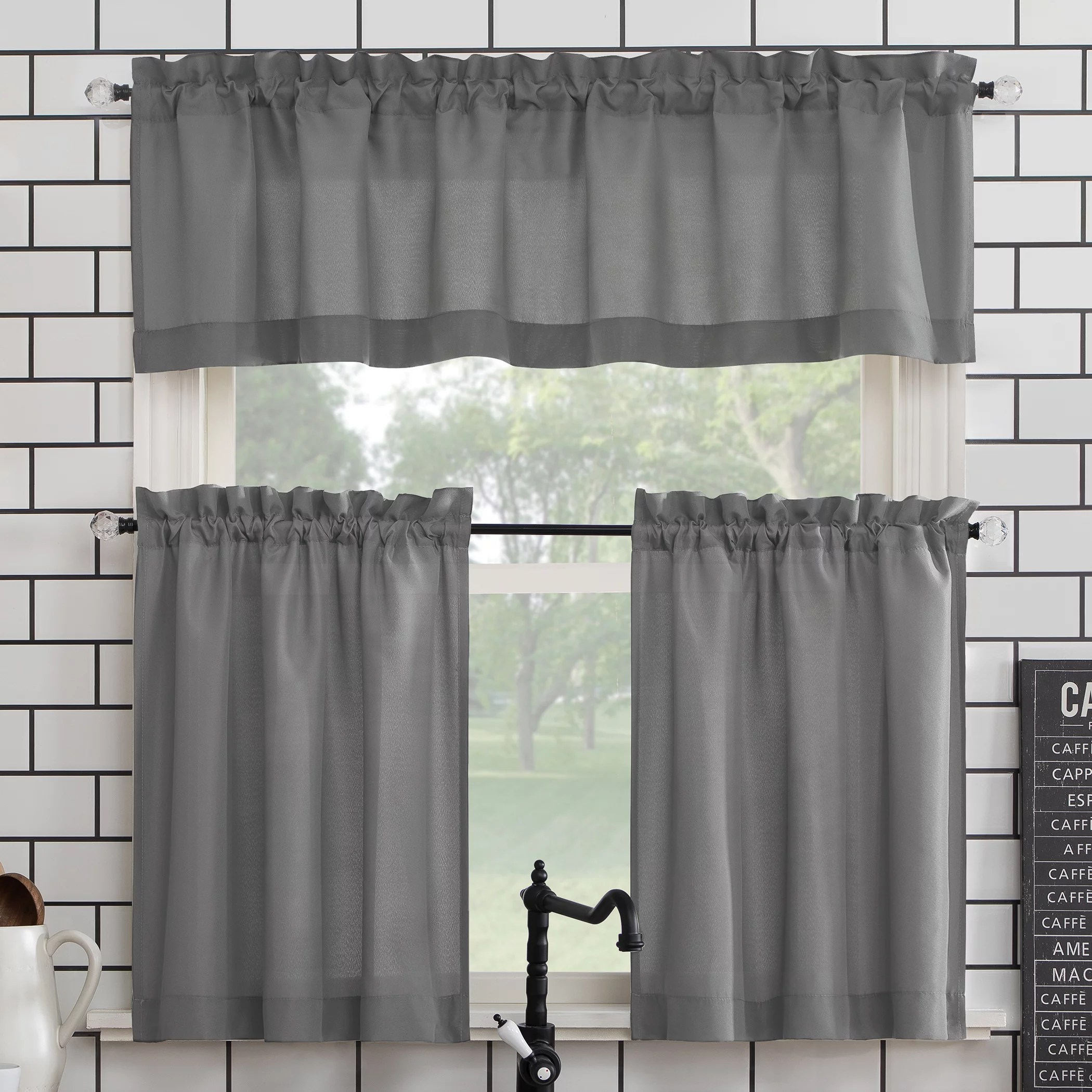 mainstays solid 3 piece kitchen curtain set walmart com