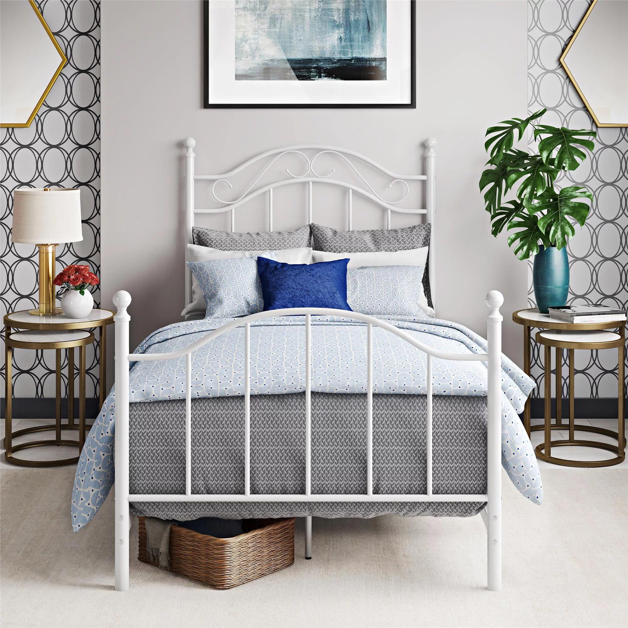 Frame Bed Twin Metal White Bedroom Kids Furniture Size Over Beds Girls Loft 65857165272 Ebay