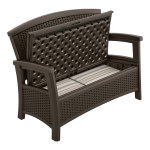 Suncast Elements Resin Wicker Storage Outdoor Bench Brown Walmart Com Walmart Com
