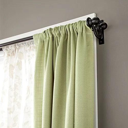 kenney scroll bracket double window curtain rod set 28 to 48 inch black