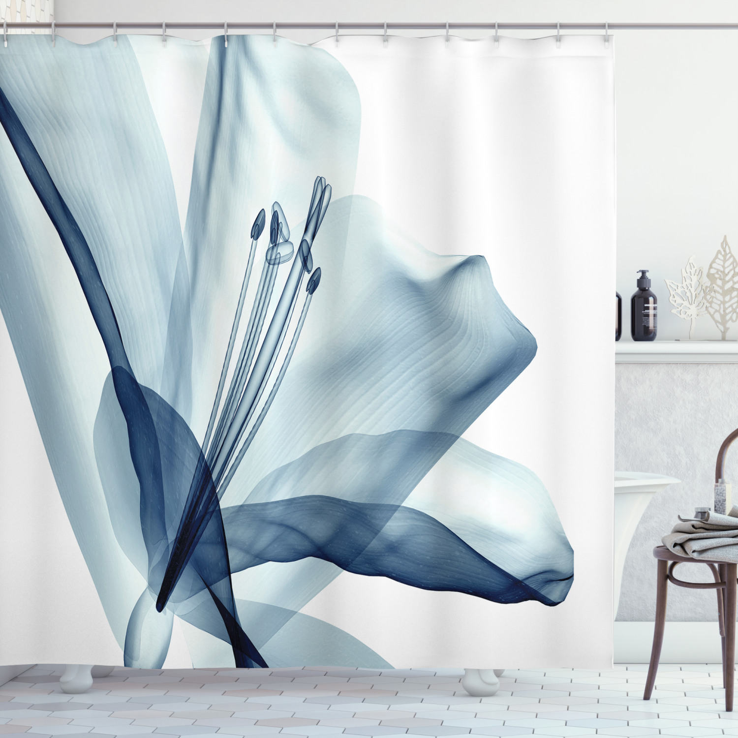 xray flower decor shower curtain set a close look to an elegant flower with x ray closer look to the nature art print bathroom accessories 69w x