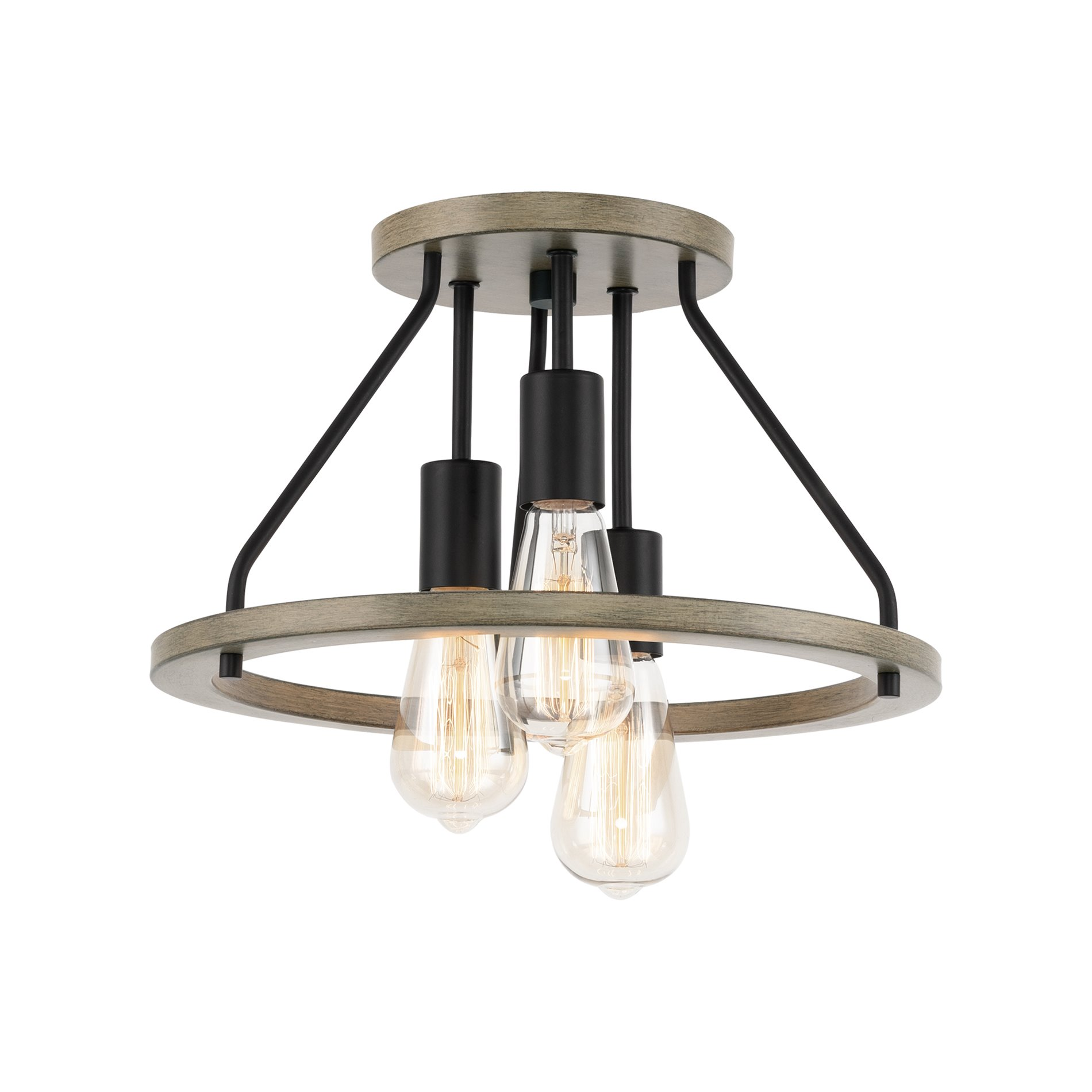 kira home sullivan 14 3 light rustic farmhouse flush mount ceiling light metal shade smoked birch wood style black walmart com
