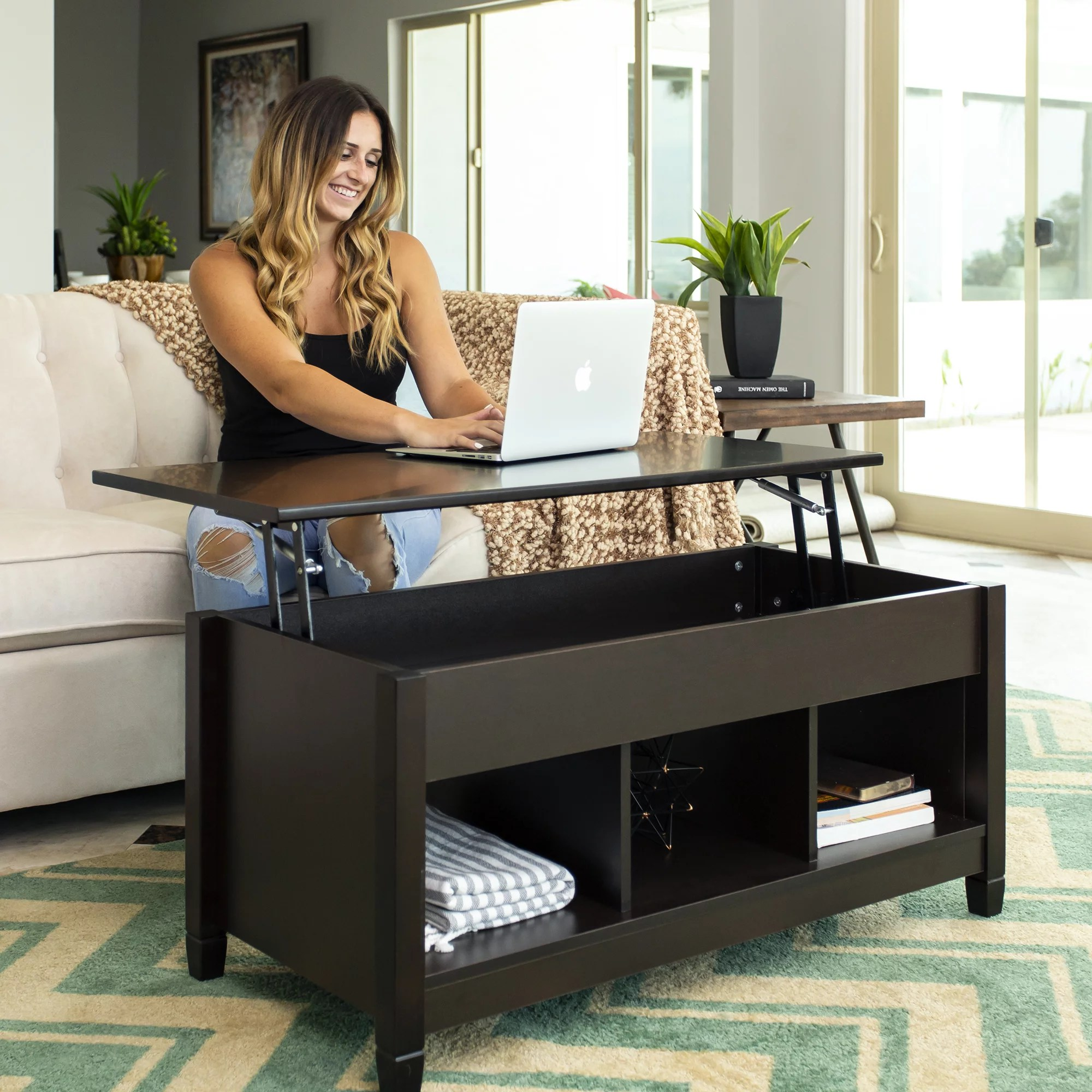 best choice products modern home coffee table furniture w hidden storage and lift tabletop espresso walmart com