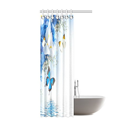 shower curtain hooks blue and white