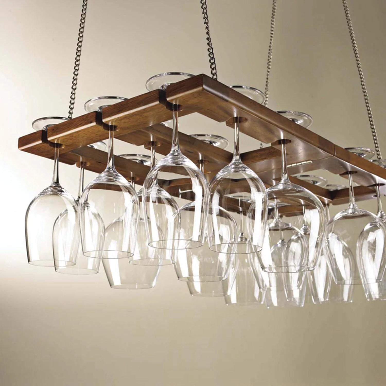 wine enthusiast 67014 hanging mahogany wine glass rack
