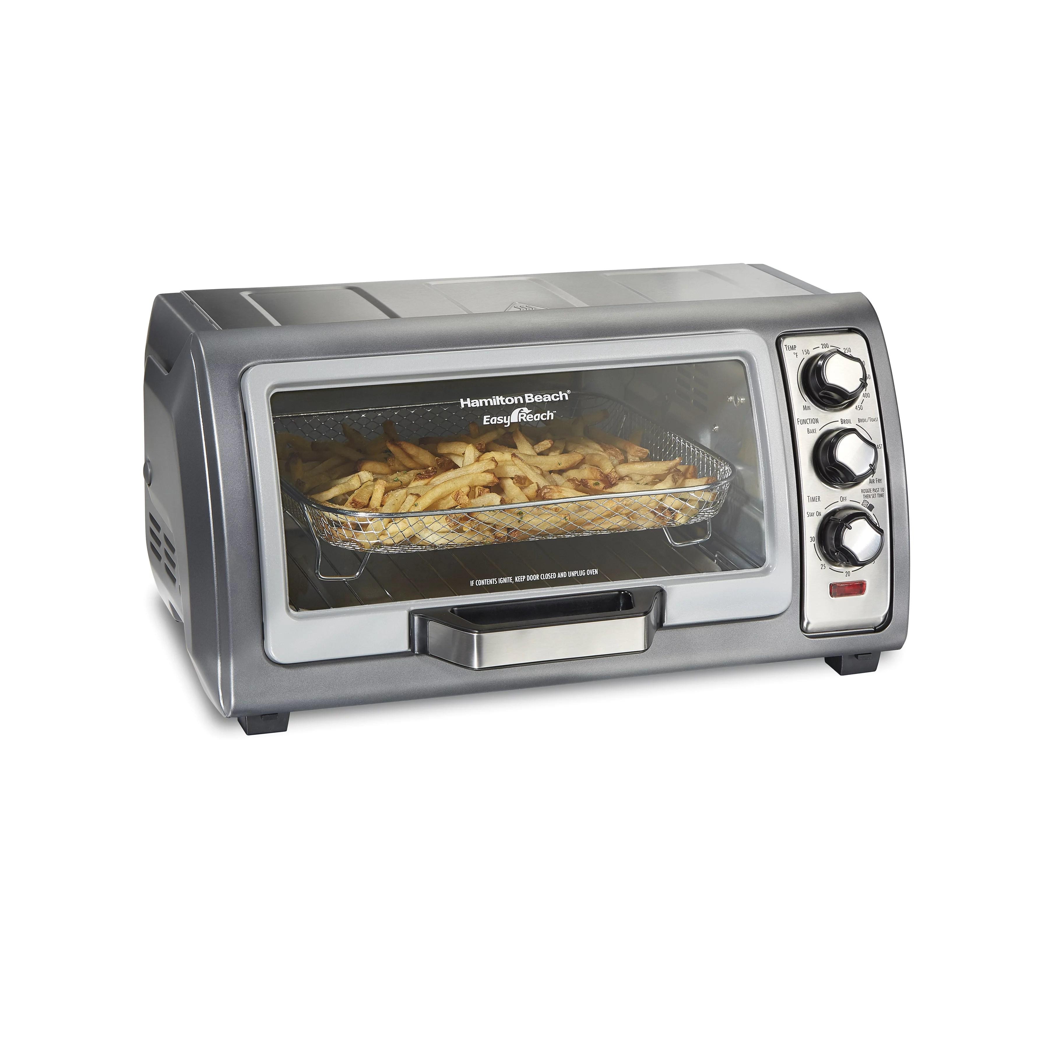 hamilton beach sure crisp air fryer toaster oven with easy reach door 6 slice capacity stainless steel 31523