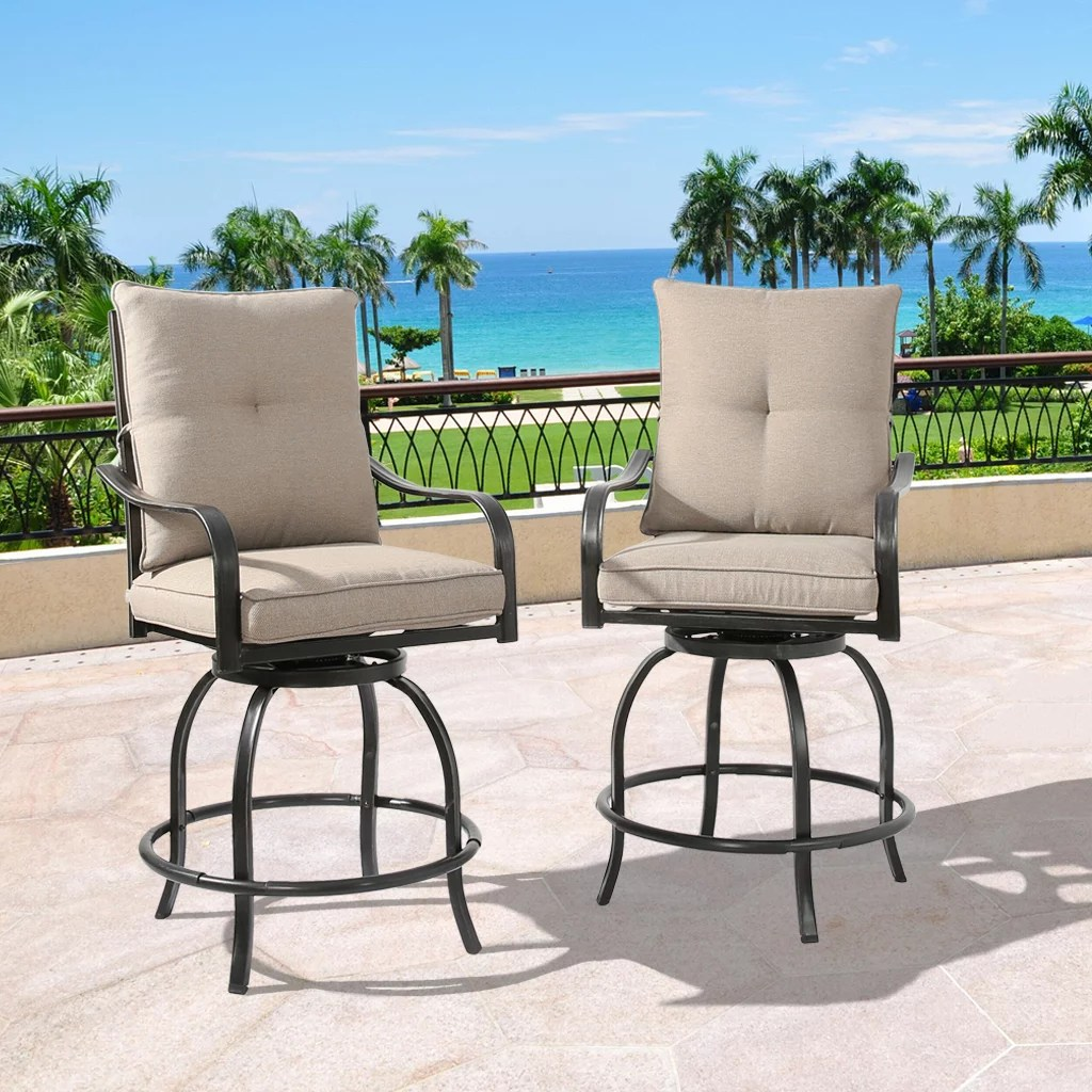 ulax furniture outdoor 2 piece counter height swivel bar stools high patio dining chair set