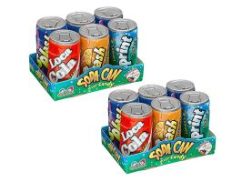 Mini Soda Can Fizzy Candy .25oz   4 Assorted Flavors 12 ...