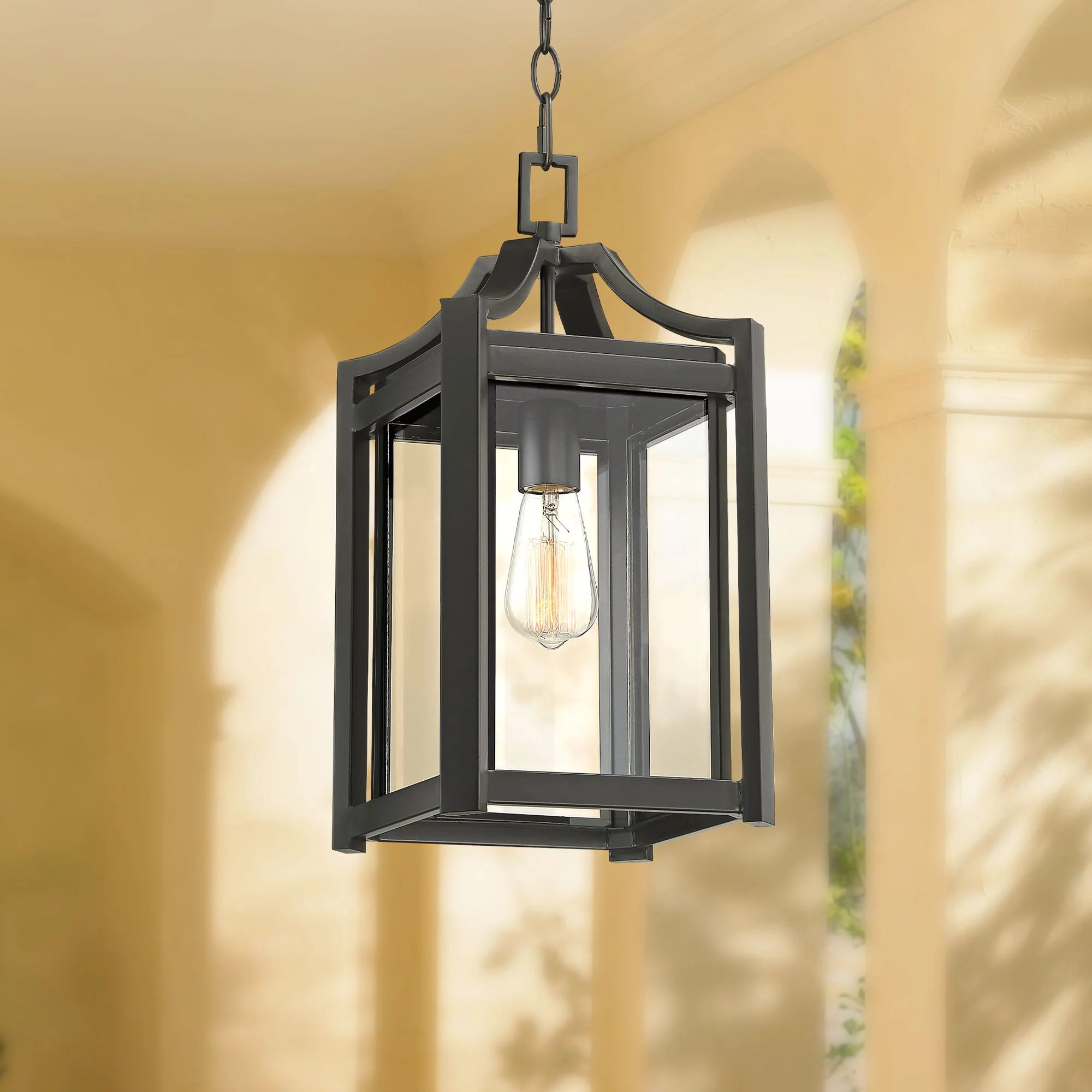 franklin iron works rustic farmhouse outdoor ceiling light hanging black 17 clear beveled glass exterior house porch patio deck walmart com