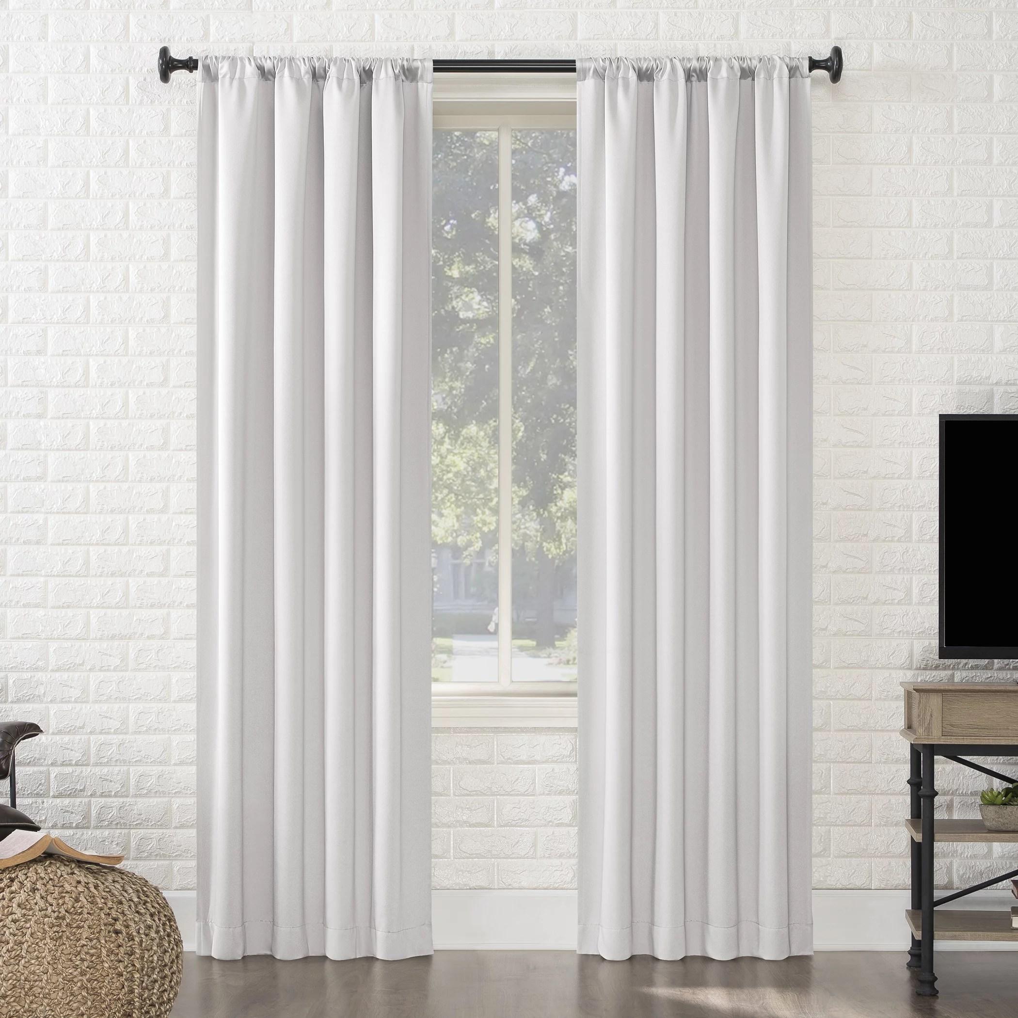 sun zero avery 100 blackout rod pocket curtain panel 40 x 84 pearl white walmart com