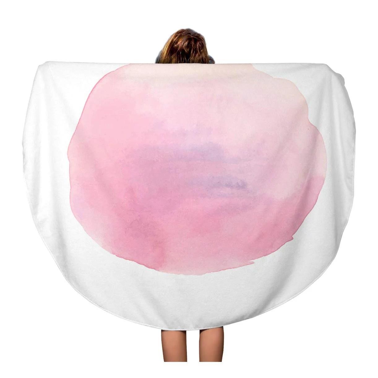 Kdagr 60 Inch Round Beach Towel Blanket Pink Touch Brush