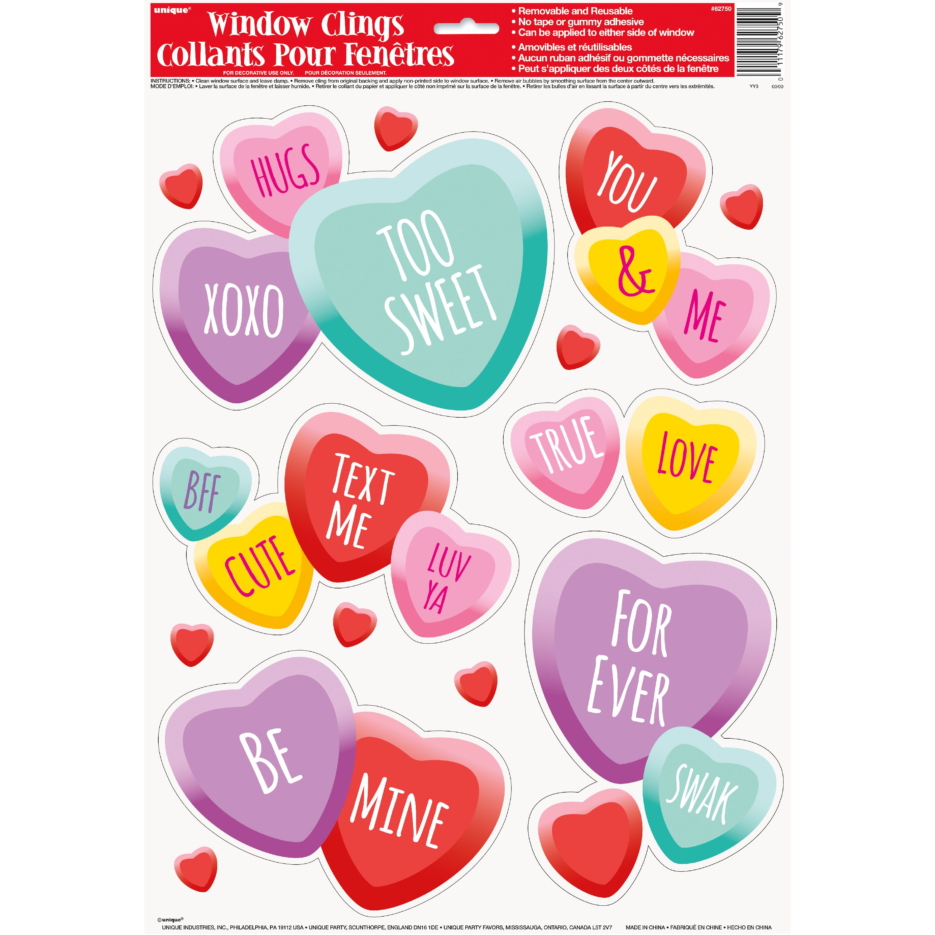 Candy Hearts Valentine S Day Window Cling Sheet