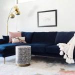 Harlow Sectional Sofa Left Facing In Navy Blue Velvet Walmart Com Walmart Com