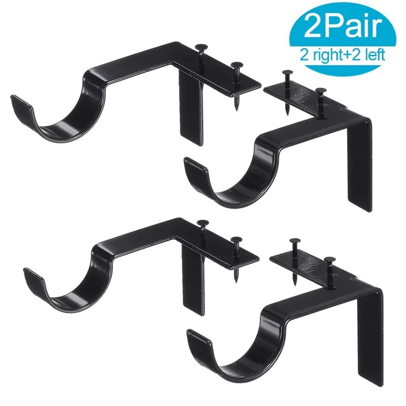4pcs curtain rod brackets set double curtain rod holders easy no drilling tap right into window frame for rods window bedroom decoration adjustable