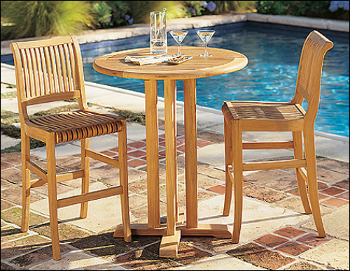 wholesaleteak outdoor patio grade a teak wood 3 piece bar set 36 round bar table with 2 bar 30 seat high armless chairs furniture only wmbr3