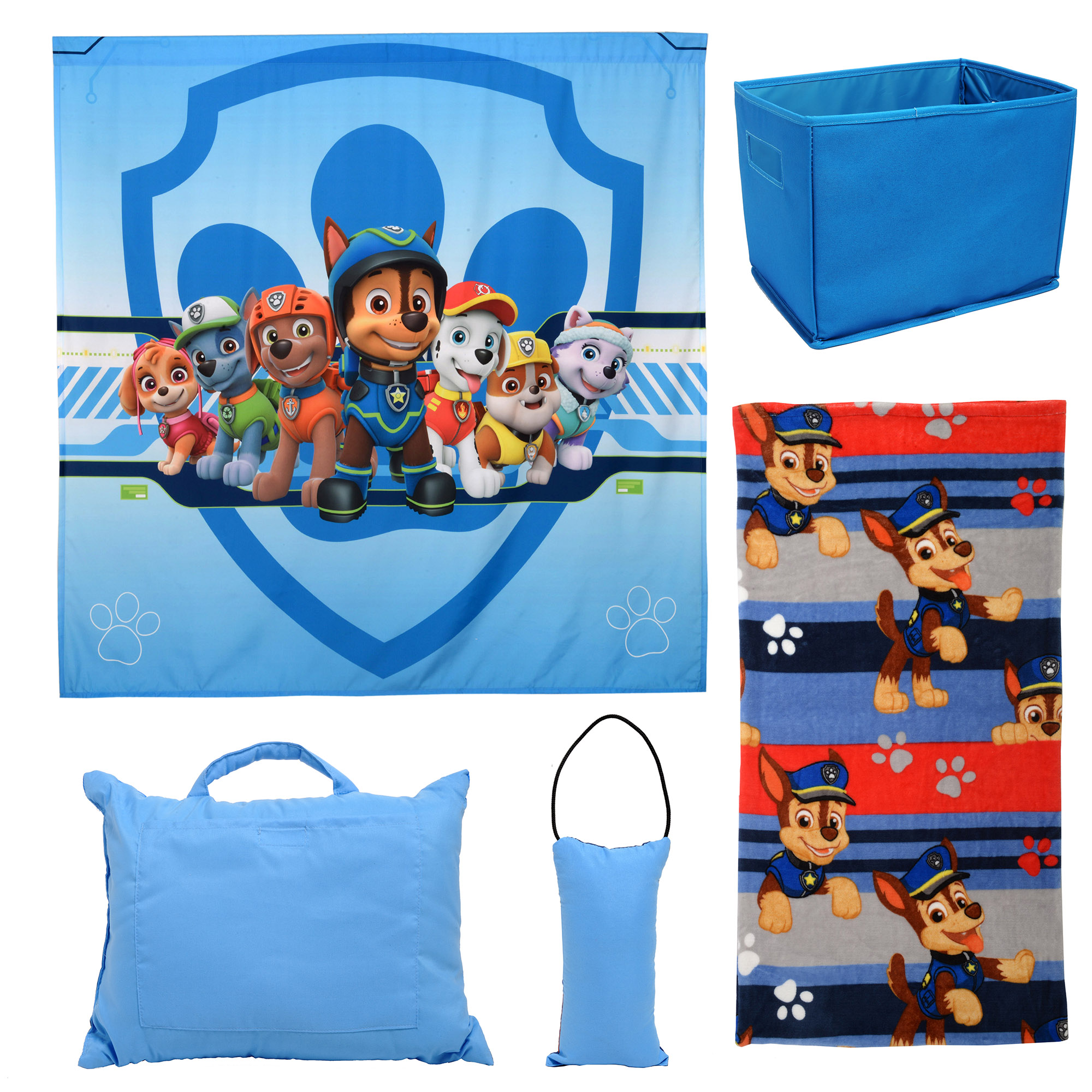 paw patrol 5pc kids bedroom set w pillows blanket storage and tapestry