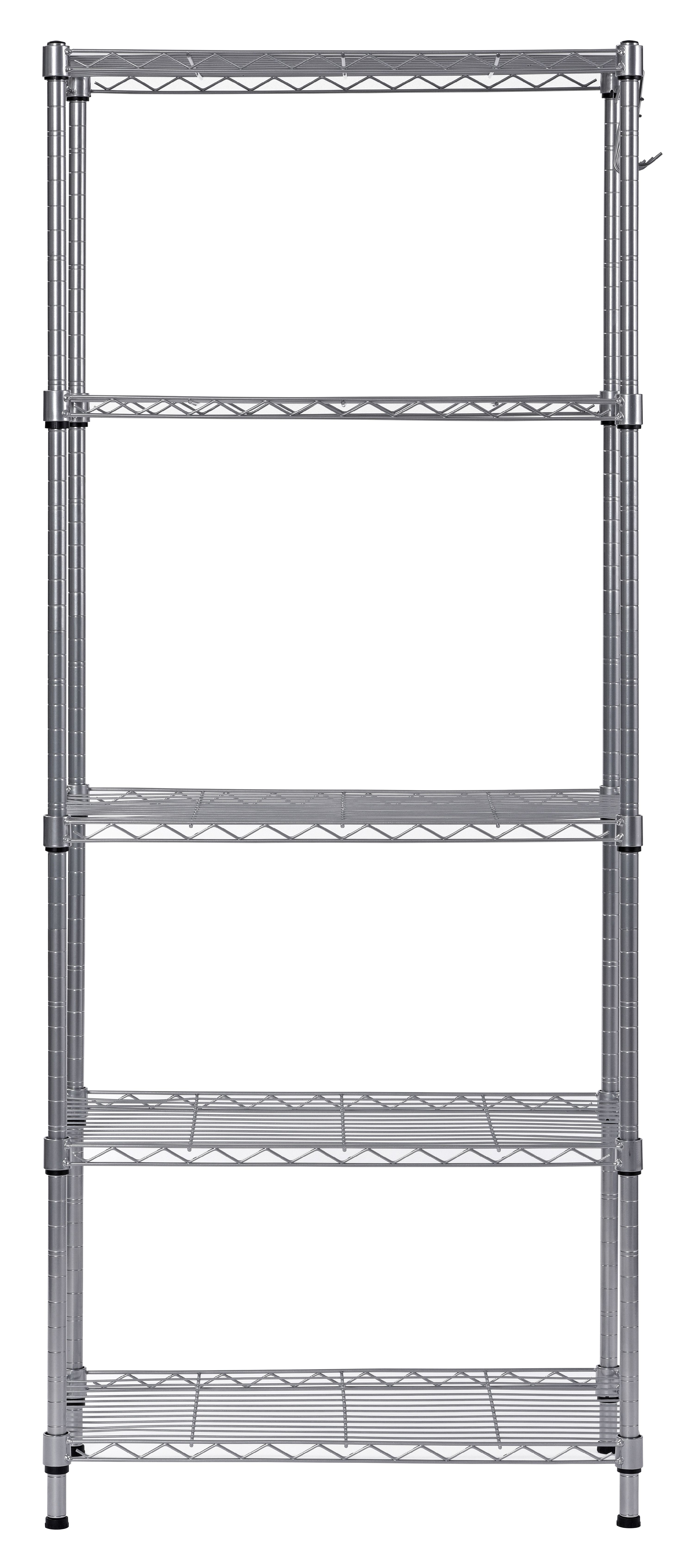 muscle rack 5 tier wire shelving unit with hooks in silver
