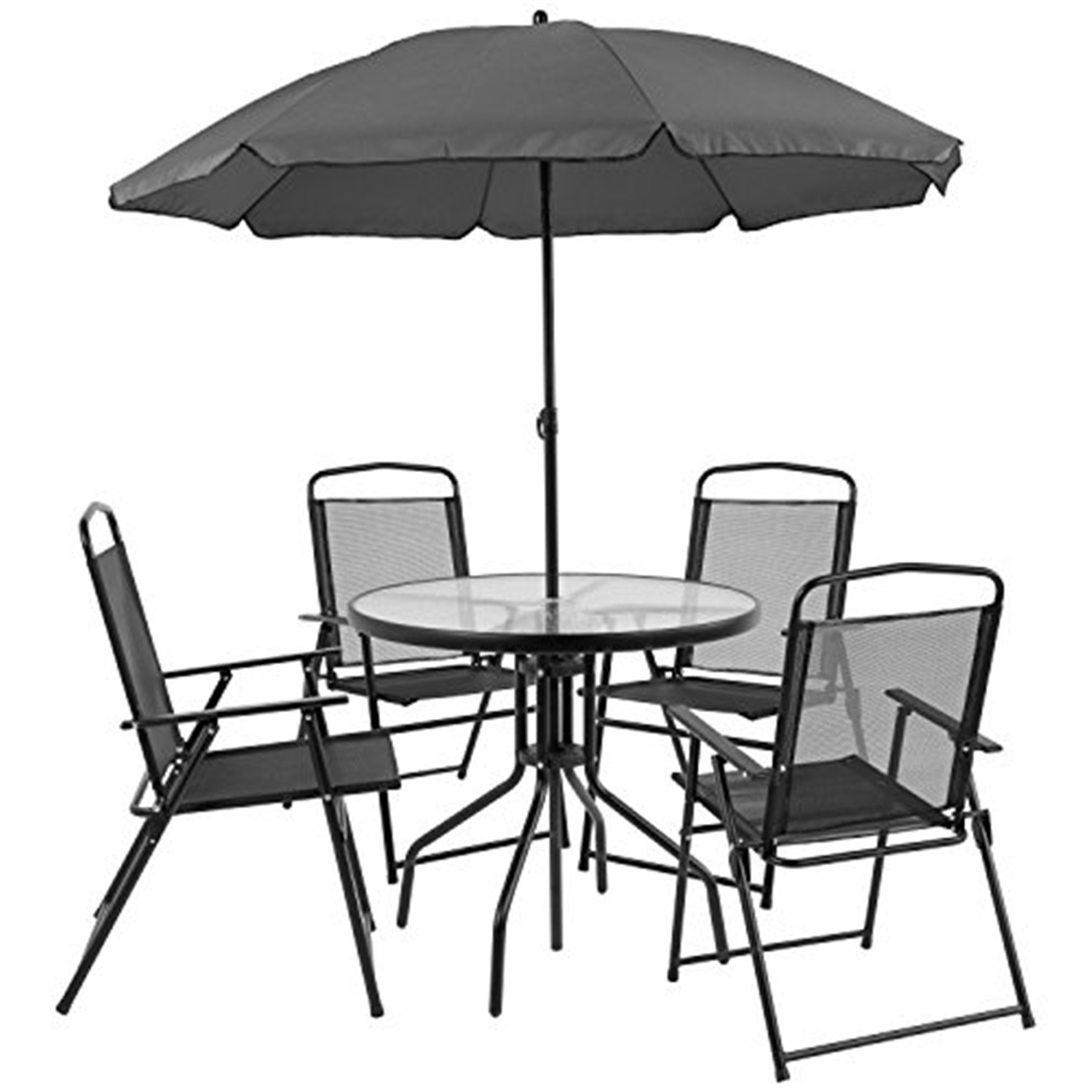 https www walmart com ip flash furniture nantucket 6 piece patio garden set with table umbrella and 4 folding chairs color black 370086360