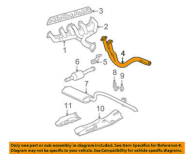 jeep chrysler oem 02 03 grand cherokee 4 0l exhaust system front pipe 52080356ac