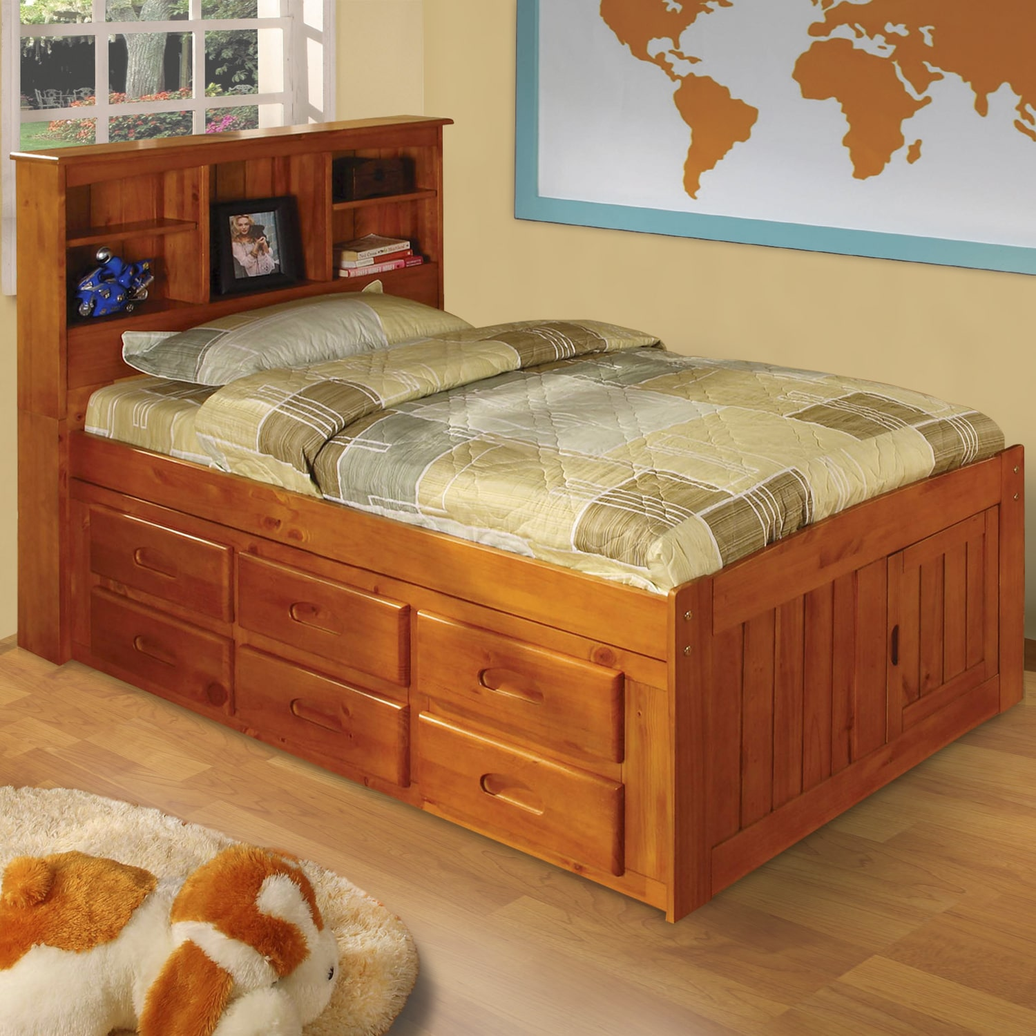 american furniture classics honey finished pinewood twin sized captain s bed with 12 drawers