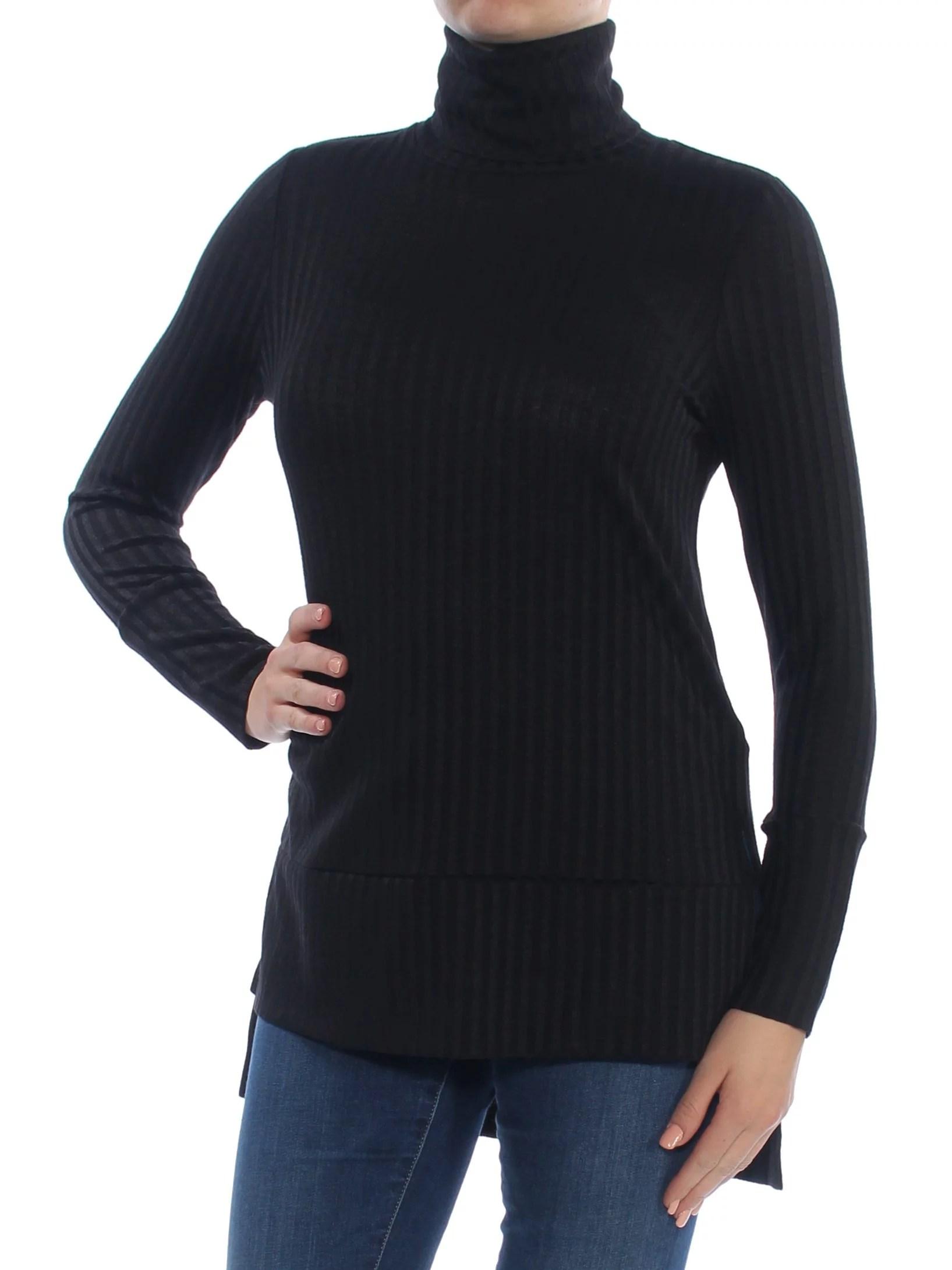 KENSIE Womens Black Long Sleeve Turtle Neck Hi-Lo Top  Size: M