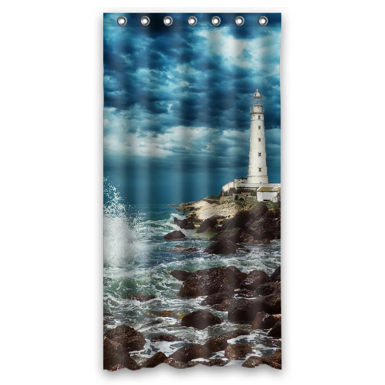 phfzk nautical beach shower curtain lighthouse ocean wave rocky beautiful scene polyester fabric bathroom shower curtain 36x72 inches walmart com