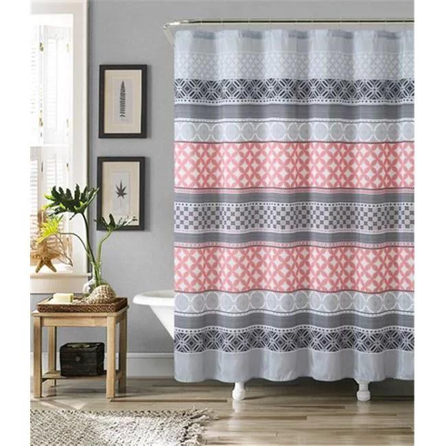 luxury home hawthorne faux silk shower curtain set grey coral 72 x 72 inch 13 piece set