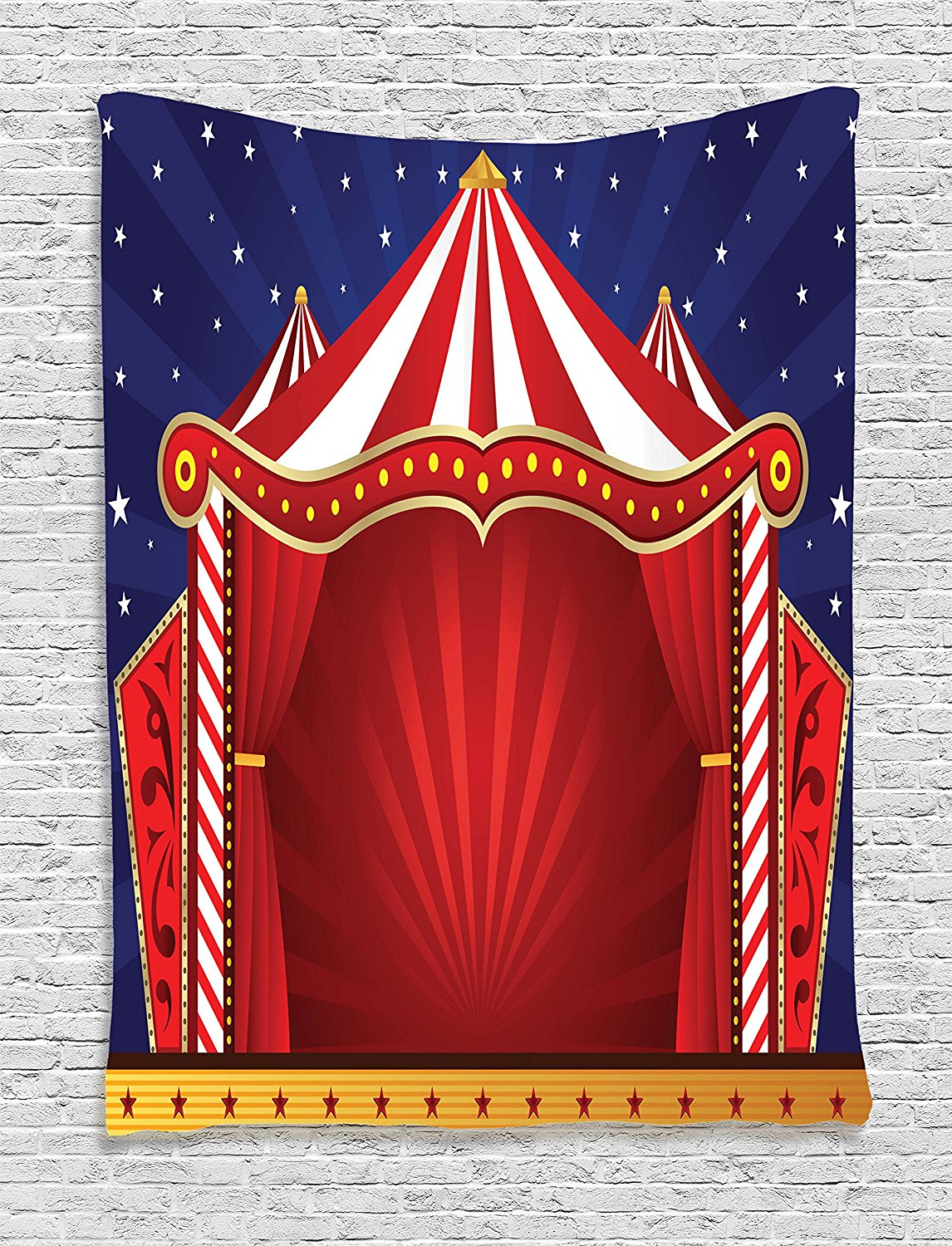 kids tapestry circus decor by tent stage backdrop print performing activity playroom decorations theater themed wall hanging art for bedroom living