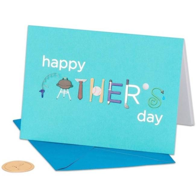 """Papyrus Greeting Card, 5"""" x 7"""", Fathers Day Icons with Foil"""