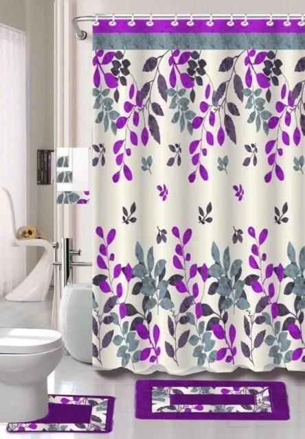 15 pc butterfly purple hotel bathroom sets 2 non slip bath mats rugs fabric shower curtain 12 hooks