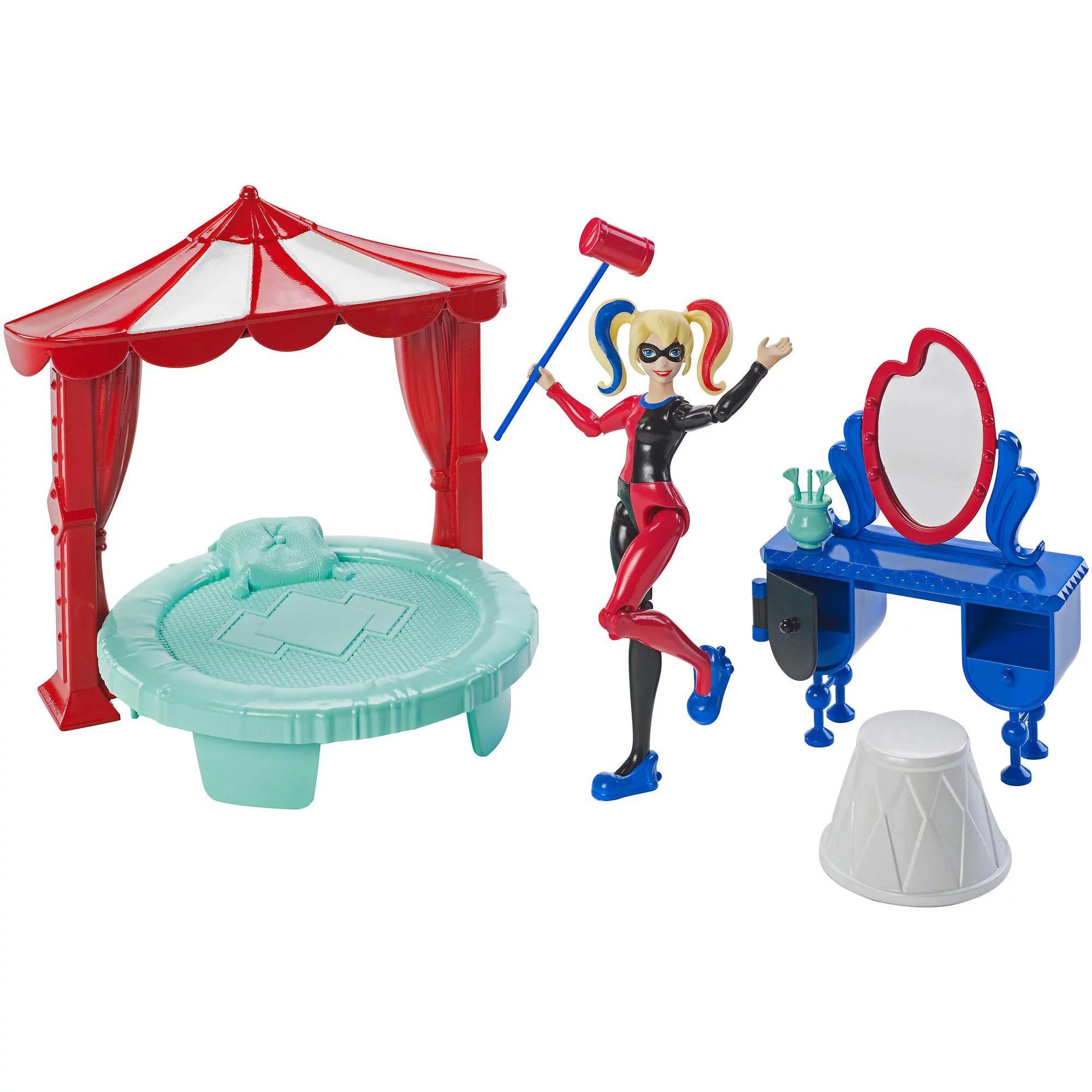 dc super hero girls harley quinn 6 inch figure and bedroom play set
