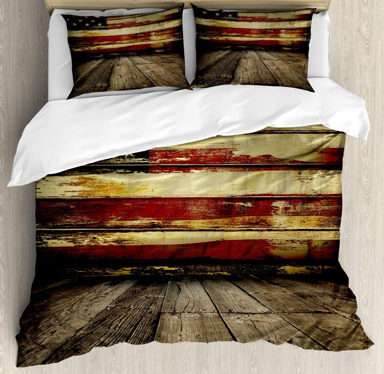 united states duvet cover set vintage american flag on wooden planks wall background grunge print decorative bedding set with pillow shams umber