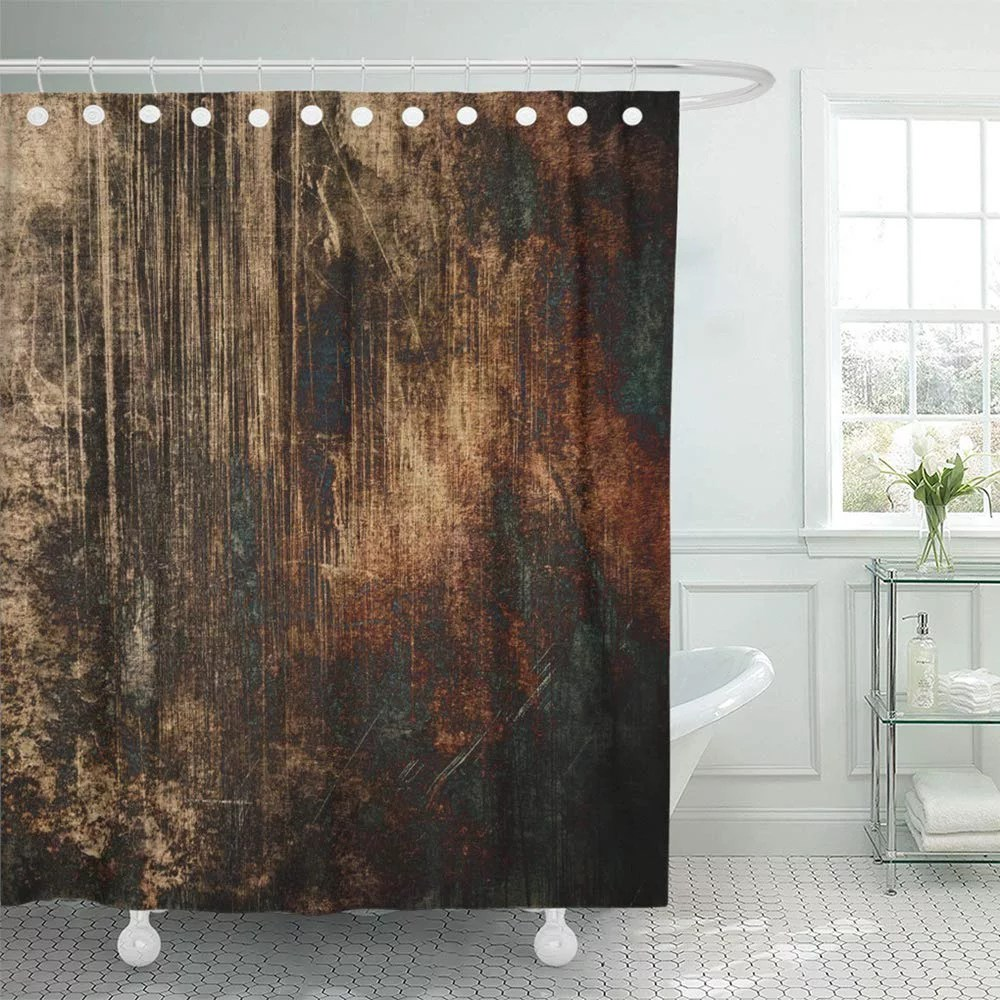 pknmt watercolor abstract dark brown orange grunge black green blue blots old bathroom shower curtain 66x72 inch