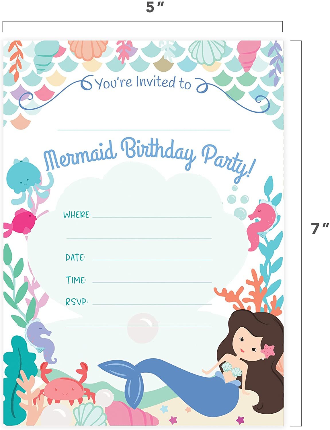 mermaid happy birthday invitations invite cards 25 count with envelopes and seal stickers vinyl girls kids party 25ct