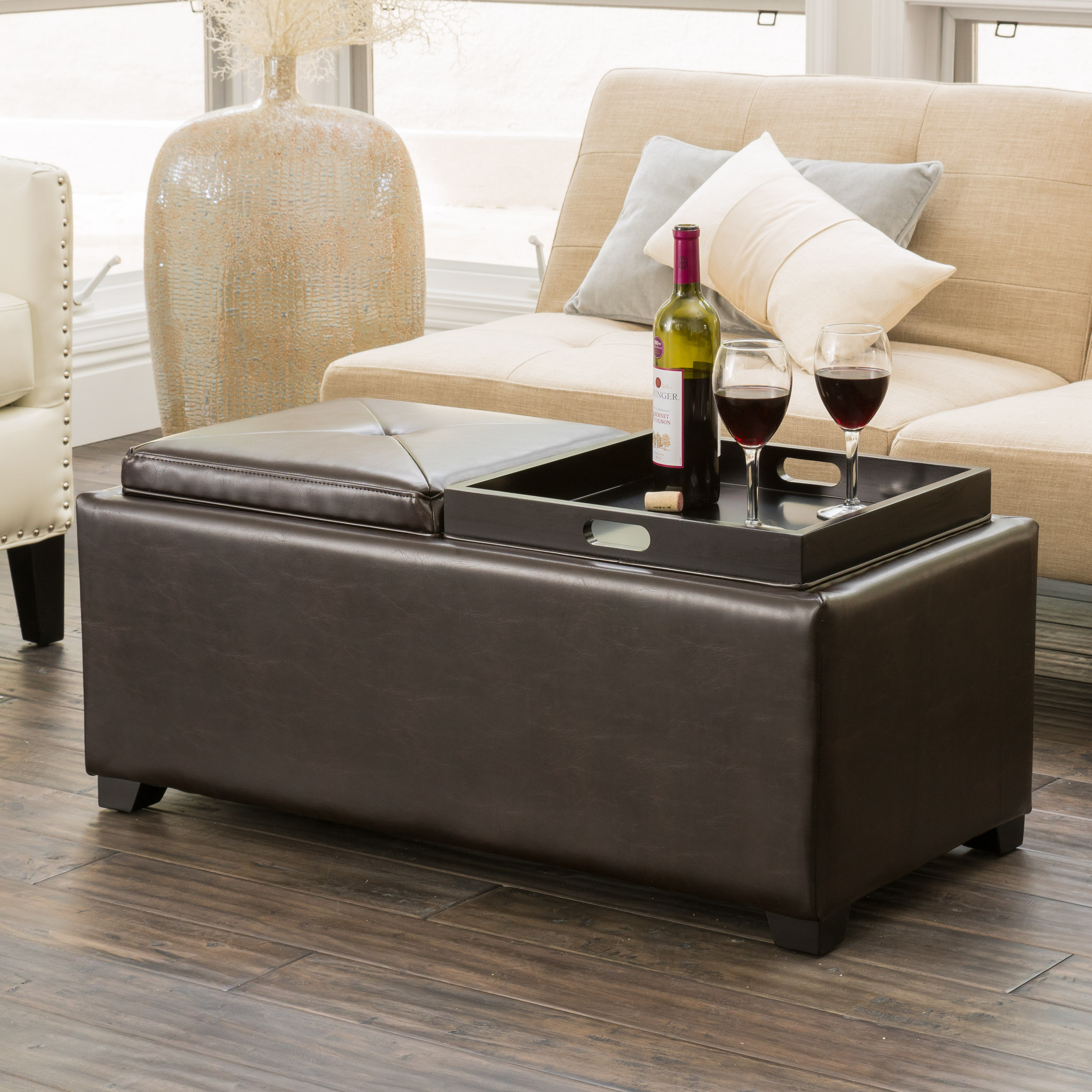 kenwell contemporary bonded leather tray top storage ottoman brown
