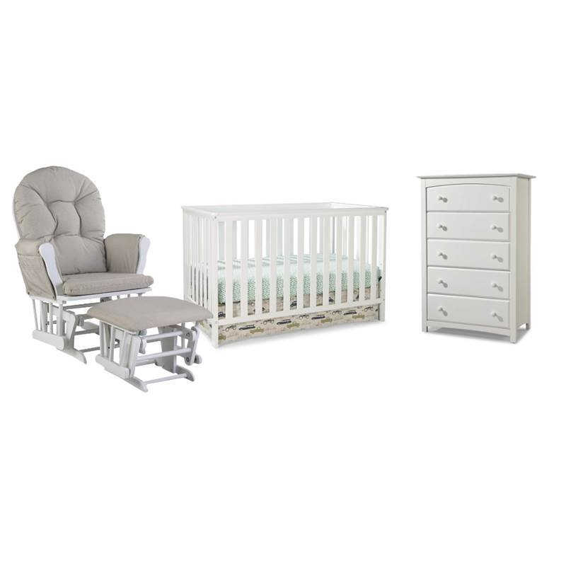 4 piece nursery furniture set with rocker ottoman crib and chest in white walmart com