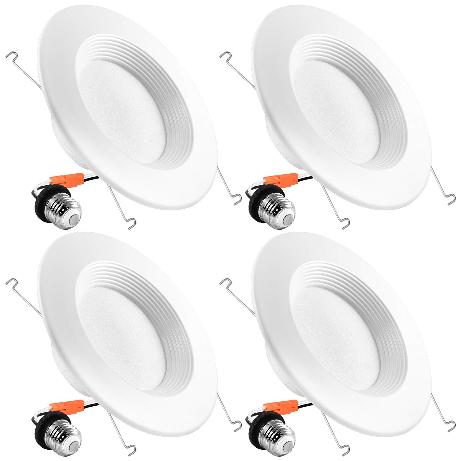 luxrite 5 6 inch led recessed lights dimmable 15w 5000k bright white 1250 lumens retrofit led downlight 120w equivalent dob baffle trim