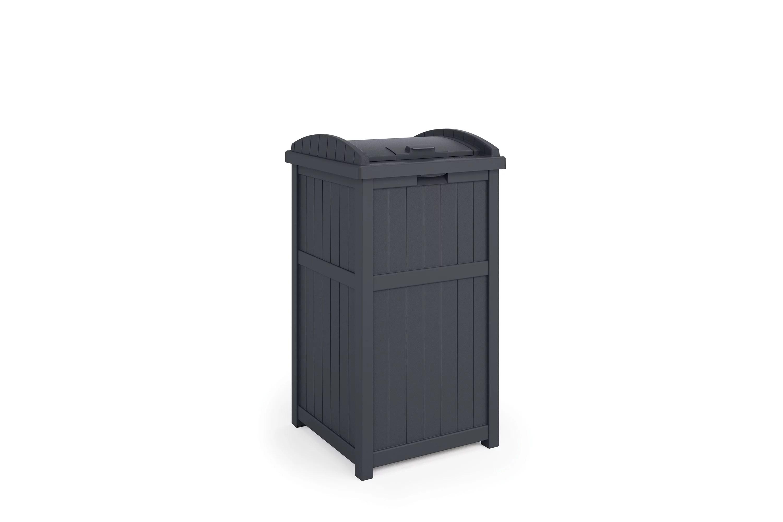 suncast trash hideaway outdoor 33 gallon garbage waste trash can cyberspace