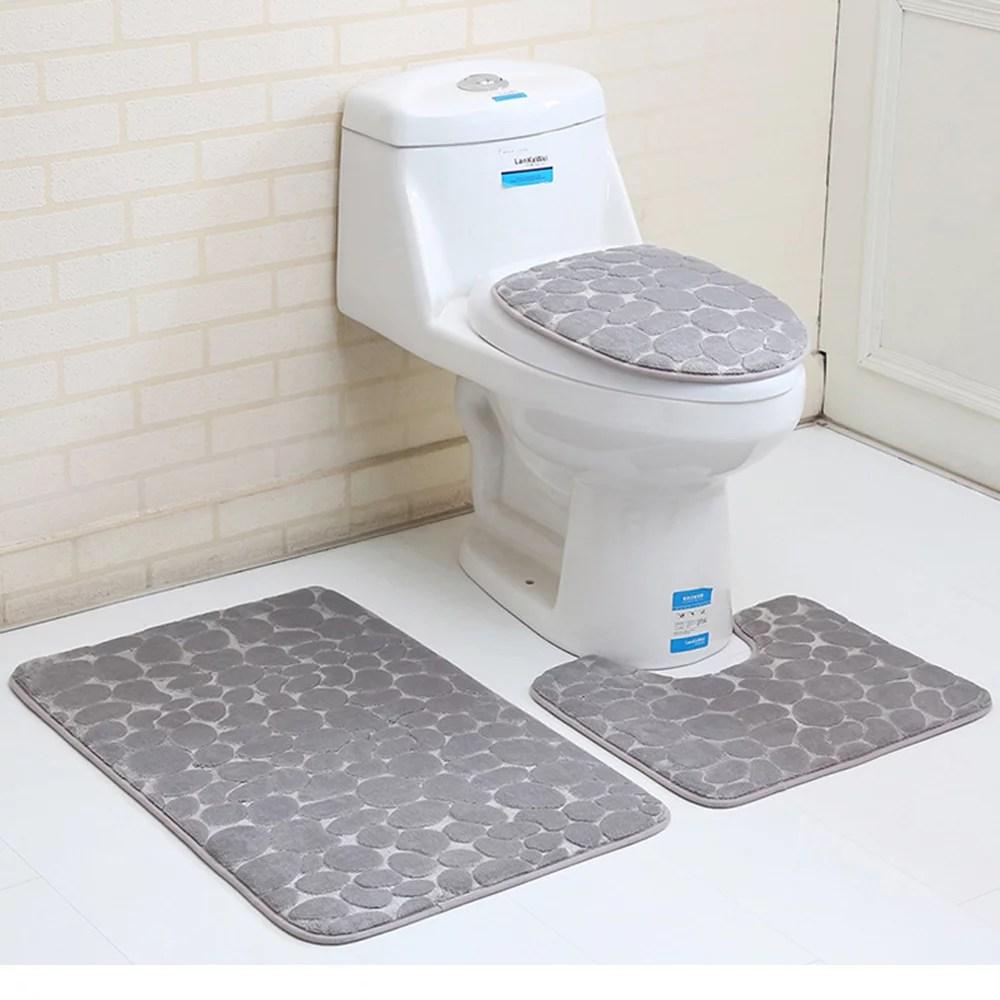 3pcs set bathroom carpets solid color toilet seat cushion on farmhouse colors for bath mats walmart id=49298