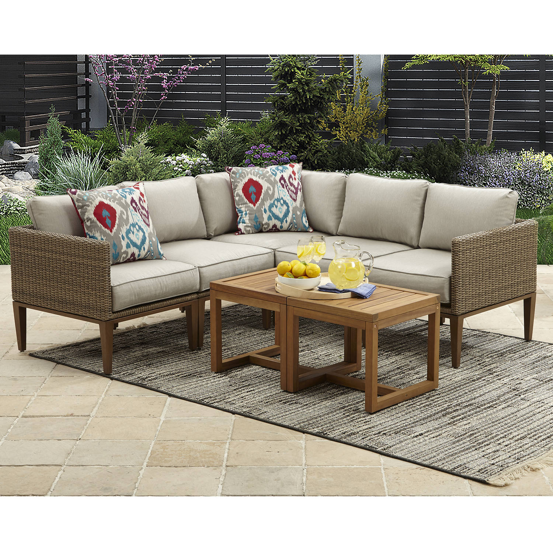 better homes gardens davenport 7 piece woven outdoor sectional set walmart com
