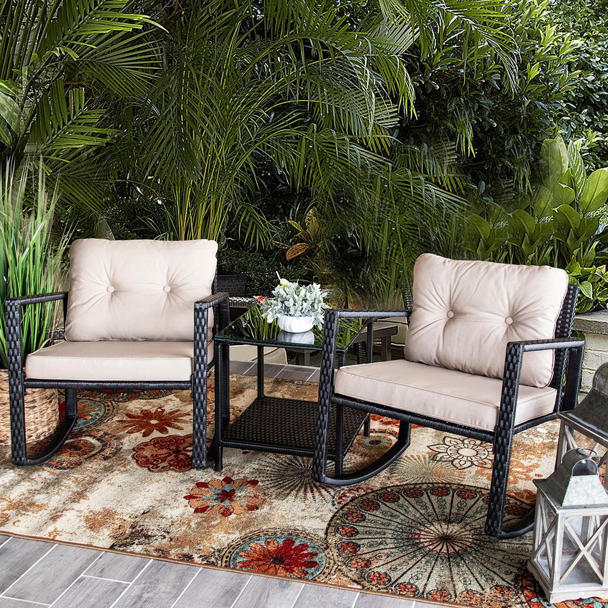 barton 3pc patio set chair wicker rattan outdoor rocking chair cushion glass coffee table set
