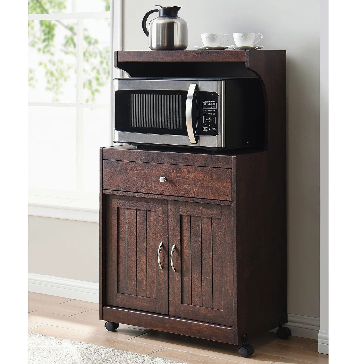 gramercy way mahogany microwave cart with double door cabinet 1 drawer and top shelf walmart com