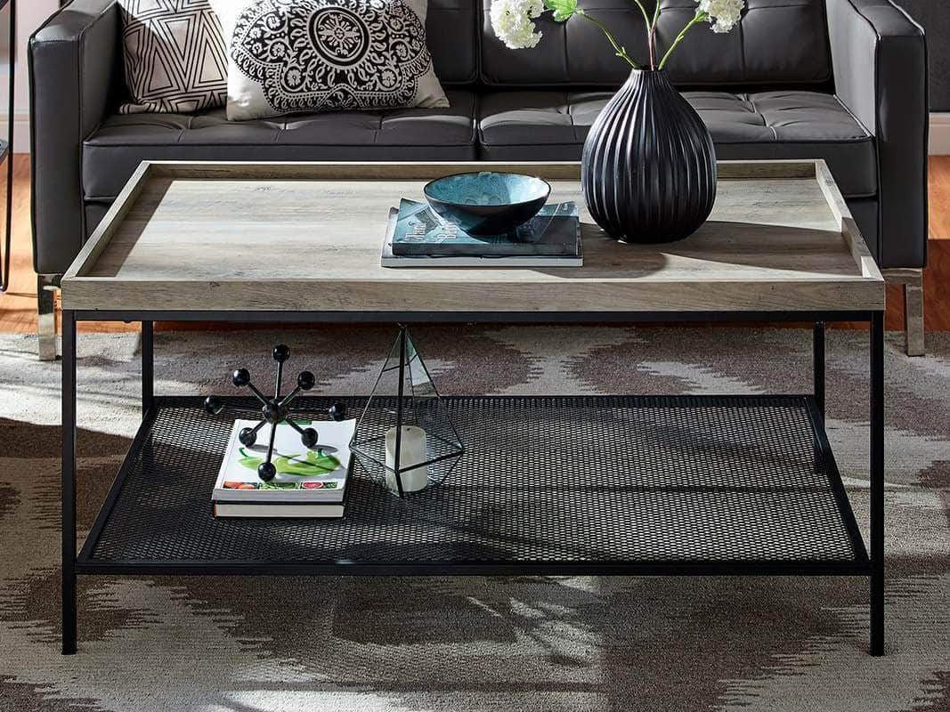42 square tray coffee table with mesh metal shelf grey wash