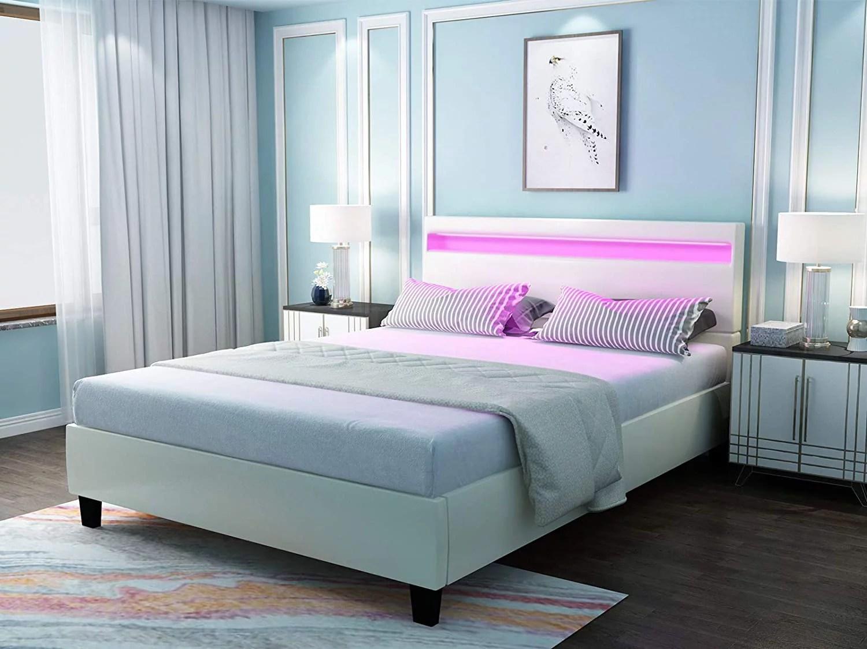 mecor full size led bed frame with 8 color changing led lights headboard modern white upholstered faux leather platform bed solid wooden slats