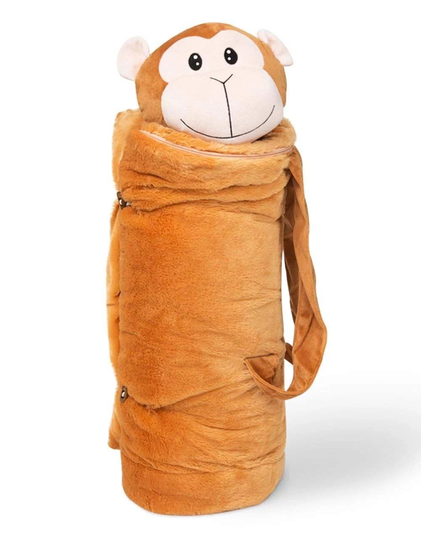 buddybagz monkey sleeping bag for kids with stuffed animal and pillow