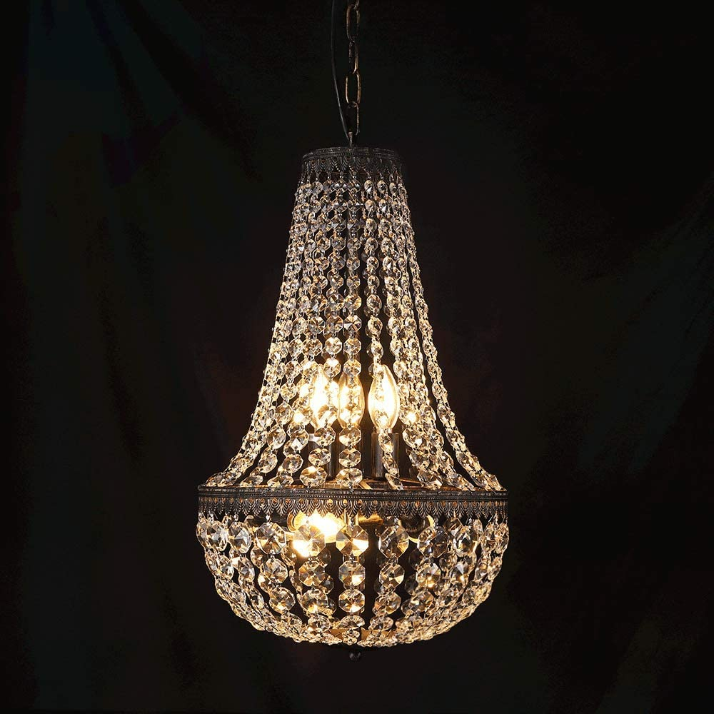 wellmet 6 lights french empire crystal chandelier 13 inch farmhouse pendant chandeliers lighting adjustable antique bronze ceiling light fixture for