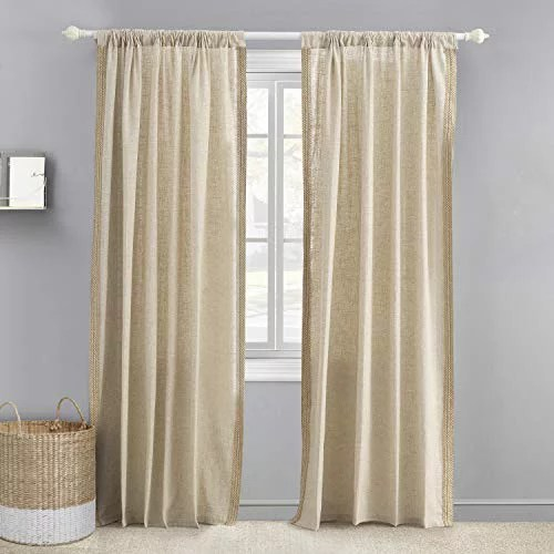 levtex baby burlap drape panel with trim window panel with rod pocket one curtain panel 84 inch length natural taupe 55 linen 45 rayon