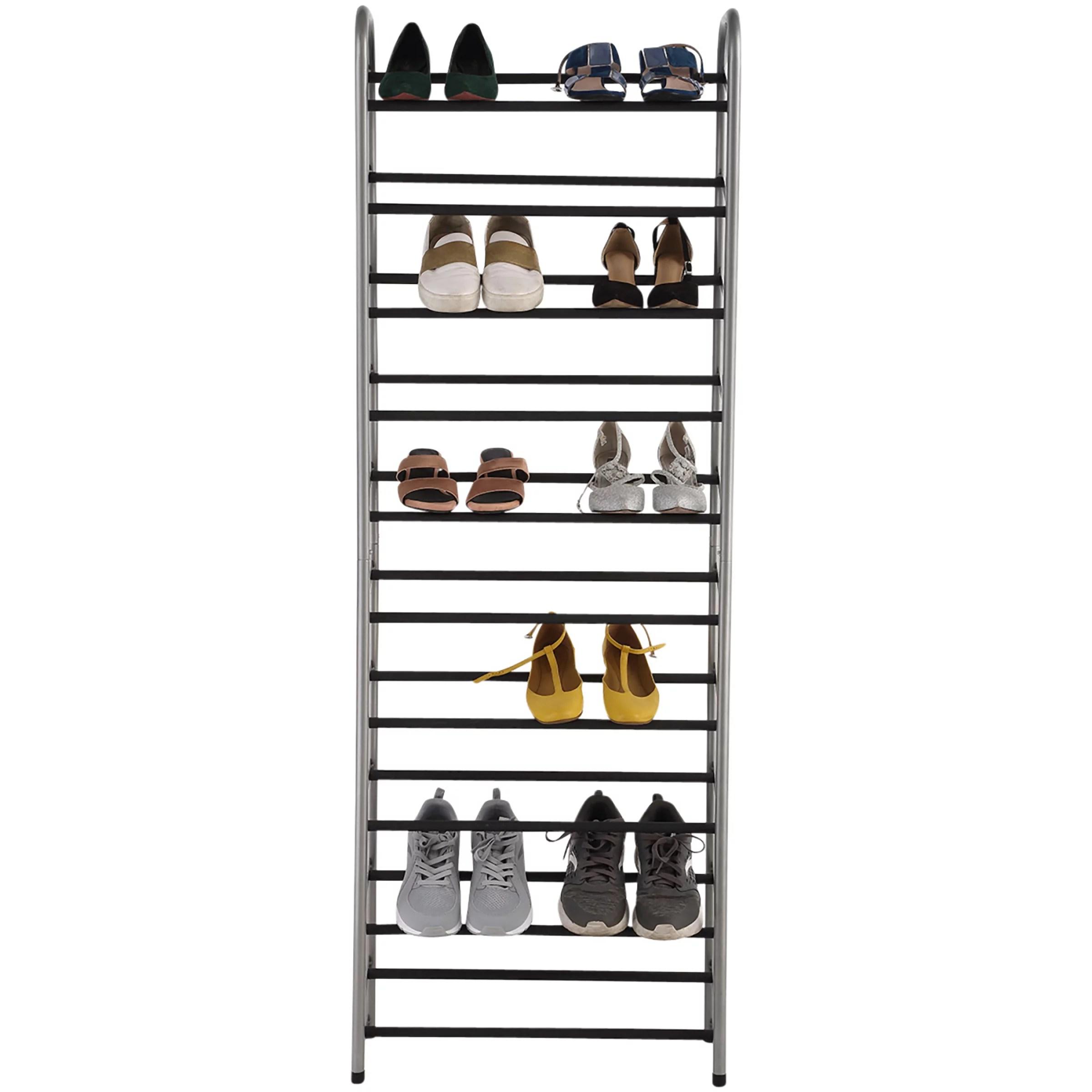 mainstays 10 tier narrow shoe rack powder coated black silver
